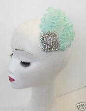 Mint Green Silver Feather Fascinator Headpiece Vtg Hair Clip 1920s Flapper P57