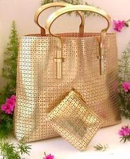 ESTEE LAUDER  2 pcs. Shopper & Cosmetic Bag Set - Totebag - Beachbag Set Gold