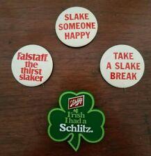 Vintage Falstaff Slaker and Schlitz Beer Pin Back Buttons Lot of 4