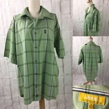 Jeep Size L Green Open Checked Mens Button Down Short Sleeved Shirt 100% Cotton