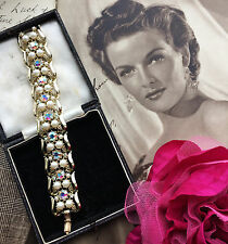 Vintage 1950s AB Aurora Borealis Diamante Pearl Gold Bracelet Bridal Gift SUPERB