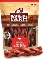 "Natural Farm Made and Packaged Braided Bully Sticks: Odor-Free, 6"" Long, 100%"