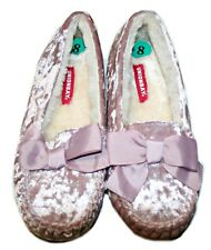 Unionbay Suede Furry Slippers with Bow, Light Pink and Cream Color, Size: 8