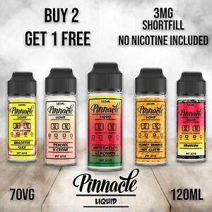 120ml  Short Fill  for 3mg Vape Juice PINNACLE E Liquid 70 vg No Nicotine