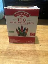 HOLIDAY TIME 100-COUNT MULTI-COLOR INCANDESCENT STRING LIGHTS WITH GREEN WIRE