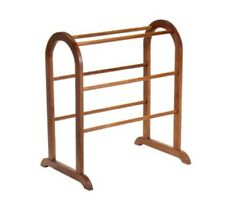Quilt Display Rack Vintage Walnut Solid Wood Blanket Stand Bedspread Bedding