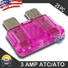 25 Pack 3 AMP ATC/ATO STANDARD Regular FUSE BLADE 3A CAR TRUCK BOAT MARINE RV US