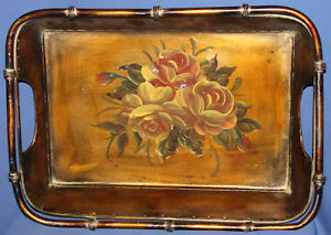 Vintage metal hand painted floral platter tray