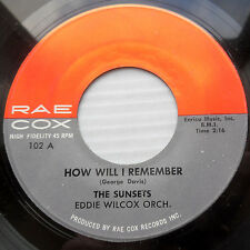 the SUNSETS doowop 45 HOW WILL I REMEMBER b/w SITTIN & CRYIN  vg++       mg1240