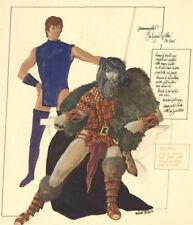 "Michael Baldwin - Signed Contemporary Gouache, Hammerfist ""The Serpent of Atlan"""