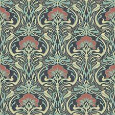 Peacock Green Retro Floral Wallpaper Art Deco Flora Nouveau by Crown M1196