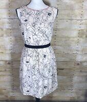 Ann Taylor LOFT Size S Beige Black Floral Sheath Dress Sleeveless Elastic Waist