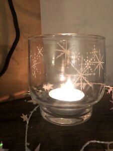 Individually Hand Painted Votive Tea Light Holder Snowflake Design