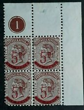 1891 South Australia Plate blk 1 of 4X5d on 6d Dp Brown 2nd S/F stamps Mint +Var