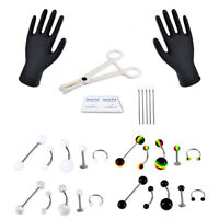 Professional Body Piercing Jewelry Tool Kit Belly Nose Navel Nipple Needle Ri PL