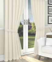 Lined Voile Curtains Ivory Champagne Crinkle