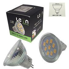 6 x MR11 12v LED 9 LEDs 11-18v AC DC replace 10w - 20w Halogen Warm / Cool White