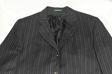 POLO BY RALPH LAUREN 44R 3 BUTTON SUIT JACKET 100% WOOL PINSTRIPE JETTED POCKET