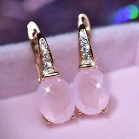 18k yellow gold gf made with SWAROVSKI crystal oval pink cz stud huggie earrings