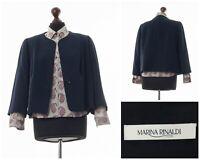 Women's MARINA RINALDI Blazer Coat Jacket One Button Navy Blue Size 12 XL 44