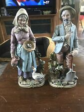 """Vintage Homco Old Man & Woman Home Interiors #8816 Farmers Couple Figurines 14"""""""
