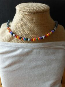 Bright multicoloured & metallic black seed bead / necklace ~ hippy love beads