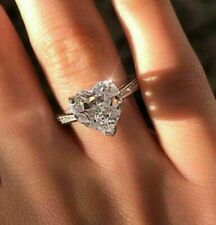 Engagement Ring In Solid 14k White Gold 2.25 Ct Heart Cut Real Moissanite Unique