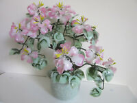 Vintage Japanese Chinese Oriental Asian Jade Glass Flowering Blossom Bonsai Tree