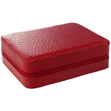 4 Watch Box Travel Case, Leather, Red Crocodile LIMITED TIME SALE PRICE