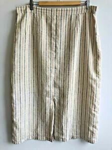MARINA RINALDI Women's Beige Striped Linen Skirt  Plus Size 25 Made in Italy