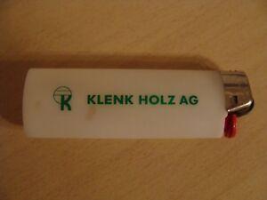 Feuerzeug Leer für Sammler sammeln Klenk Holz AG gebraucht weiß grün BIG
