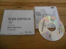 CD Pop Elvis Costello - 45 (1 Song) Promo UNIVERSAL / ISLAND sc + Presskit