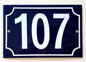 Vintage French house number 107 Enamel door sign