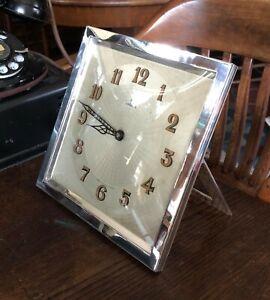 Rare OMEGA 1930 Art Deco Mantel Clock 8 X 8 inch Rectangular.