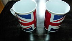 Union Jack Coffee Tea Mugs England : Ideal for Euros and Olympics (2 Items)