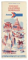 Vintage 1975 Amtrak Timetable Chicago to California Schedules 2-23-1975