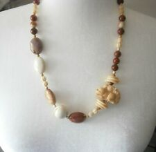 VINTAGE GENUINE POLISHED STONE CARVED HORSE PONY BEAD NECKLACE EQUESTRIAN