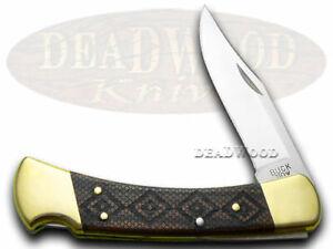 Buck 110 TIMBER RATTLER Ebony Wood Folding Hunter W Pocket Knives