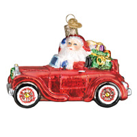 """Santa in Antique Car"" (40302)X Old World Christmas Glass Ornament w/OWC Box"