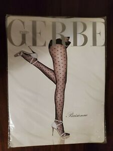 Gerbe Parisienne Tights, Size 5, Nearly Black with Black Dots, NIP