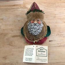Herr Christmas Ornament Black Forest Santa Fabric Mache with Box & Tag