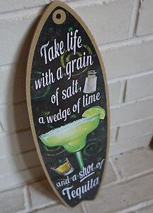 Margarita Surfboard Sign Tiki Bar Cantina Tropical Island Beach Kitchen Decor