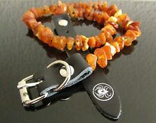 RAW BALTIC AMBER DOG NECKLACE WITH LEATHER STRAP / COLLAR SIZES 20 - 62 CM