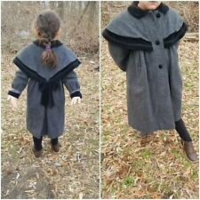 Vintage Rothschild Girl Victorian woolen Grey Coat Velvet Black Bow coat Size 6