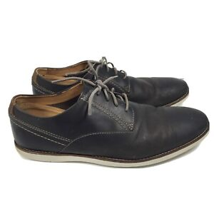 Clarks 15103 Dark Gray Leather Casual Lace Up Oxford Sneakers Shoes Mens 11