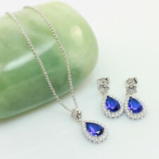 Royal Blue Crystal Cubic Zirconia Jewellery Set, Necklace-Earrings Bridal Set