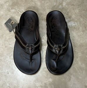 OluKai Men's Mea Ola Leather Flip Flop Sandals Dark Java Brown Sz 10 US $120 NEW