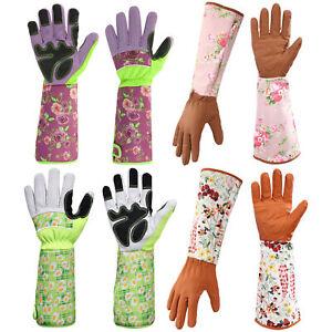 Gardening Working Gloves Women Men Thorn Proof Rose Pruning Gloves Long Leather