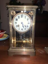 Japy Freres S P 625 Mantle Clock Brass With Mercury Pend Beveled Glass