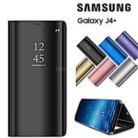 COVER per Samsung Galaxy J4+ PLUS FLIP ORIGINALE MIRROR Case SLIM Clear View